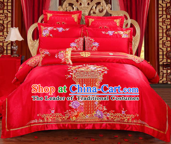 Traditional Chinese Wedding Red Embroidered Peony Ten-piece Bedclothes Duvet Cover Textile Qulit Cover Bedding Sheet Complete Set