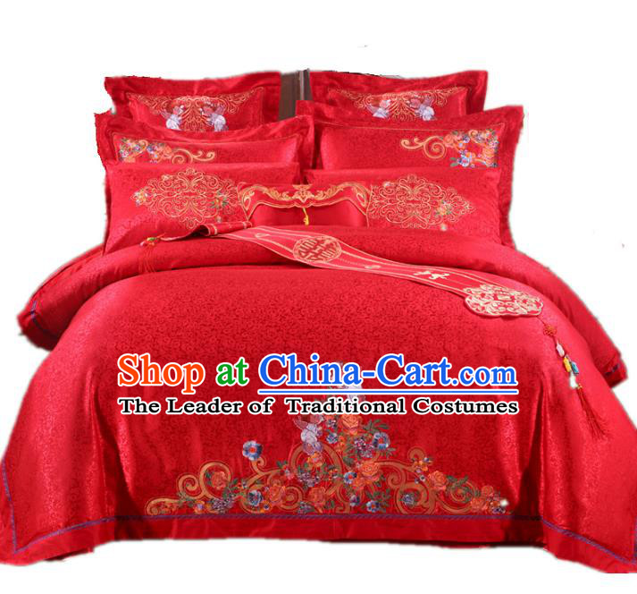 Traditional Chinese Wedding Red Embroidered Ten-piece Bedclothes Duvet Cover Textile Qulit Cover Bedding Sheet Complete Set