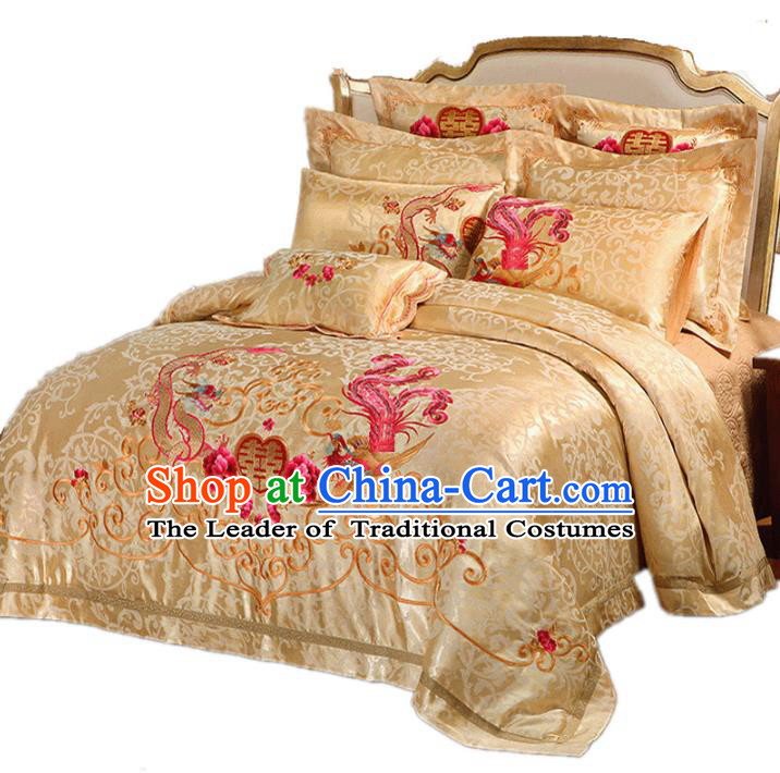 Traditional Chinese Wedding Yellow Satin Embroidered Dragon Phoenix Ten-piece Bedclothes Duvet Cover Textile Qulit Cover Bedding Sheet Complete Set