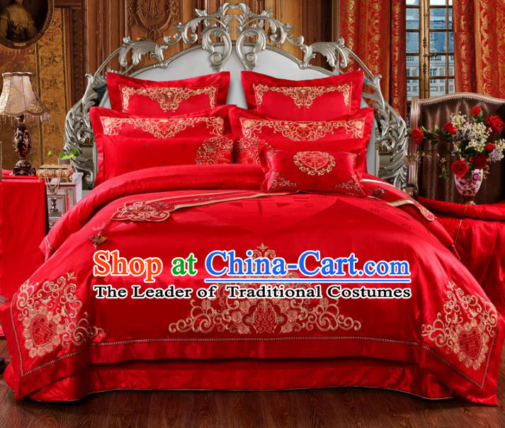 Traditional Chinese Wedding Red Satin Embroidered Flowers Ten-piece Bedclothes Duvet Cover Textile Qulit Cover Bedding Sheet Complete Set