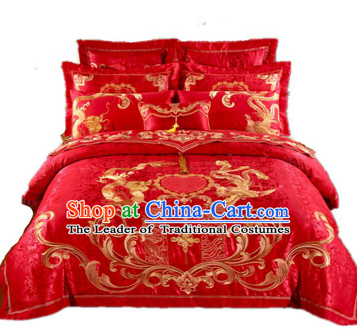 Traditional Chinese Wedding Red Satin Embroidered Dragon Phoenix Ten-piece Bedclothes Duvet Cover Textile Qulit Cover Bedding Sheet Complete Set