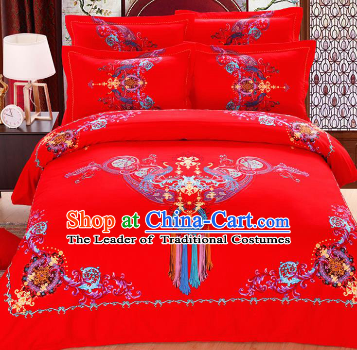 Traditional Chinese Wedding Red Printing Four-piece Bedclothes Duvet Cover Textile Qulit Cover Bedding Sheet Complete Set