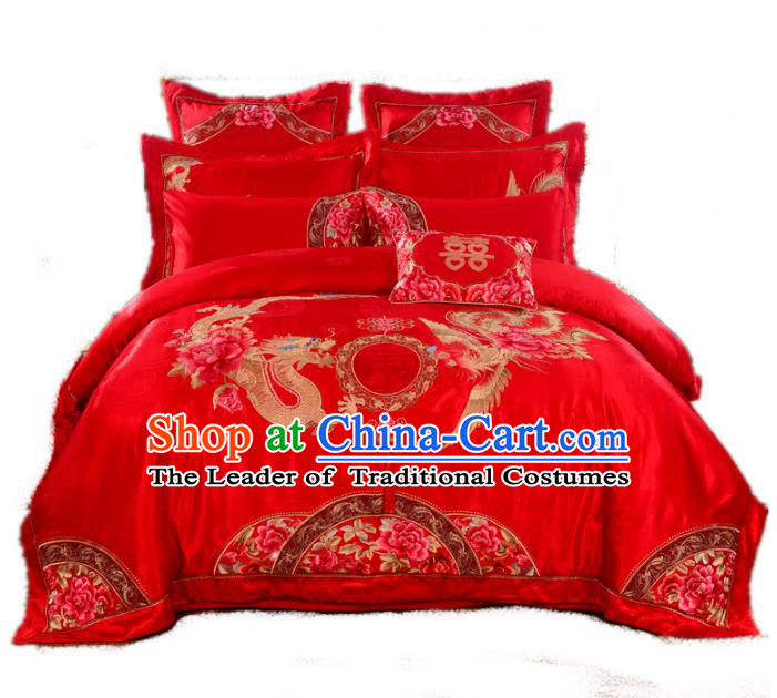 Traditional Chinese Wedding Red Embroidered Phoenix Peony Ten-piece Bedclothes Duvet Cover Textile Qulit Cover Bedding Sheet Complete Set