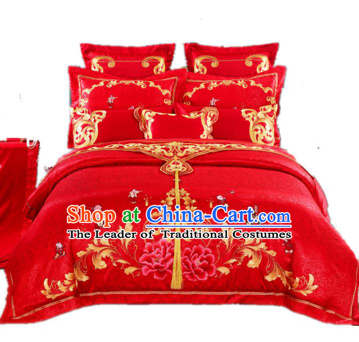 Traditional Chinese Wedding Red Satin Embroidered Peony Ten-piece Bedclothes Duvet Cover Textile Qulit Cover Bedding Sheet Complete Set
