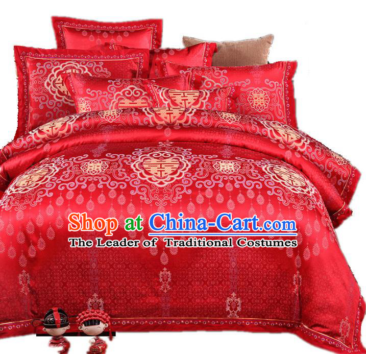 Traditional Chinese Wedding Red Satin Embroidered Six-piece Bedclothes Duvet Cover Textile Qulit Cover Bedding Sheet Complete Set