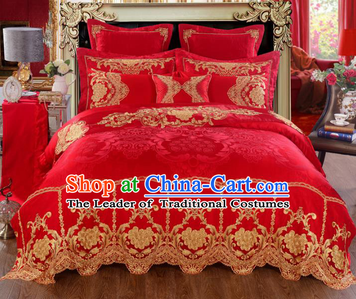 Traditional Chinese Wedding Red Satin Embroidered Ten-piece Bedclothes Duvet Cover Textile Qulit Cover Bedding Sheet Complete Set