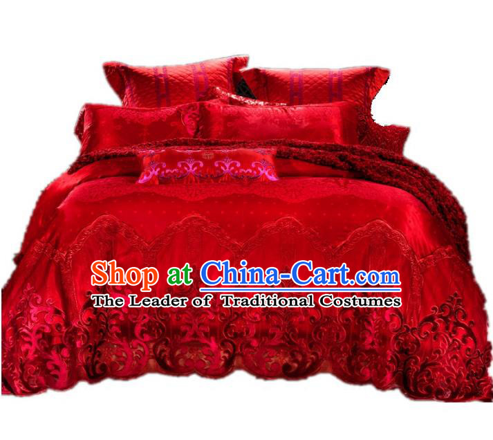 Traditional Chinese Wedding Red Lace Satin Embroidered Four-piece Bedclothes Duvet Cover Textile Qulit Cover Bedding Sheet Complete Set
