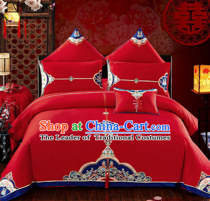 Traditional Chinese Wedding Embroidered Red Seven-piece Bedclothes Duvet Cover Textile Qulit Cover Bedding Sheet Complete Set