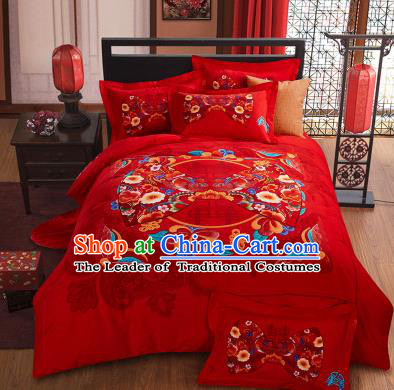 Traditional Chinese Wedding Printing Flowers Red Four-piece Bedclothes Duvet Cover Textile Qulit Cover Bedding Sheet Complete Set