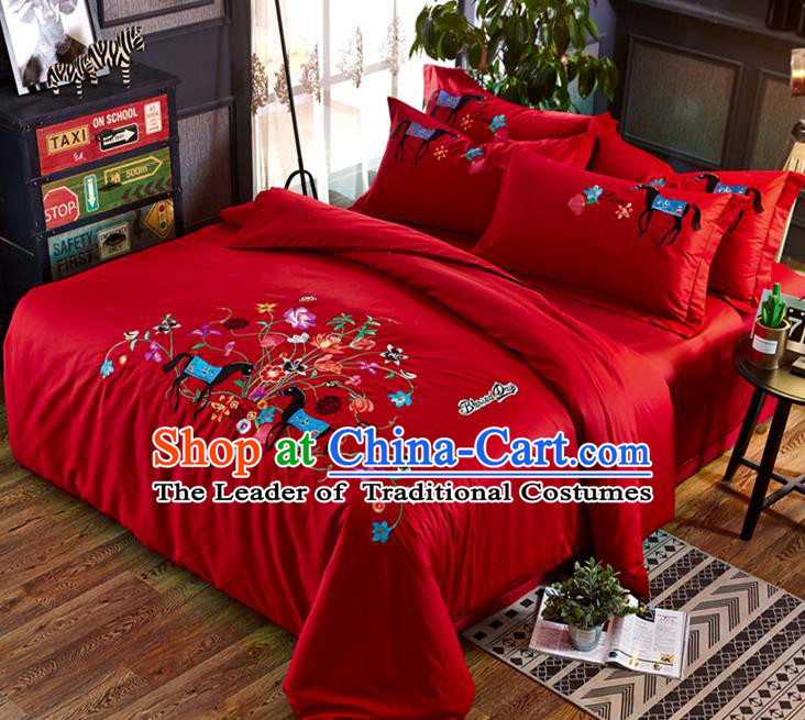 Traditional Chinese Wedding Embroidered Flowers Red Satin Six-piece Bedclothes Duvet Cover Textile Qulit Cover Bedding Sheet Complete Set
