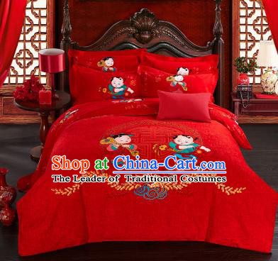 Traditional Chinese Wedding Printing Children Red Four-piece Bedclothes Duvet Cover Textile Qulit Cover Bedding Sheet Complete Set