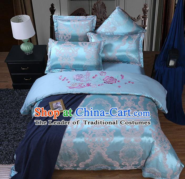 Traditional Chinese Wedding Embroidered Flowers Blue Satin Six-piece Bedclothes Duvet Cover Textile Qulit Cover Bedding Sheet Complete Set