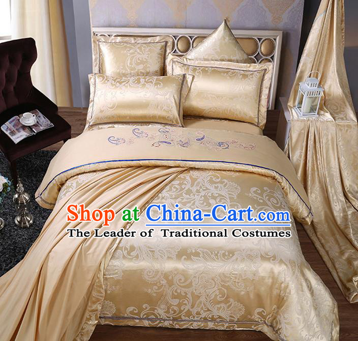 Traditional Chinese Wedding Embroidered Flowers Yellow Satin Six-piece Bedclothes Duvet Cover Textile Qulit Cover Bedding Sheet Complete Set