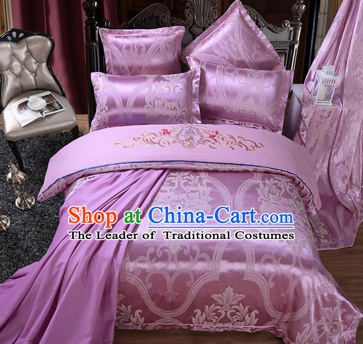 Traditional Chinese Wedding Embroidered Flowers Purple Satin Six-piece Bedclothes Duvet Cover Textile Qulit Cover Bedding Sheet Complete Set