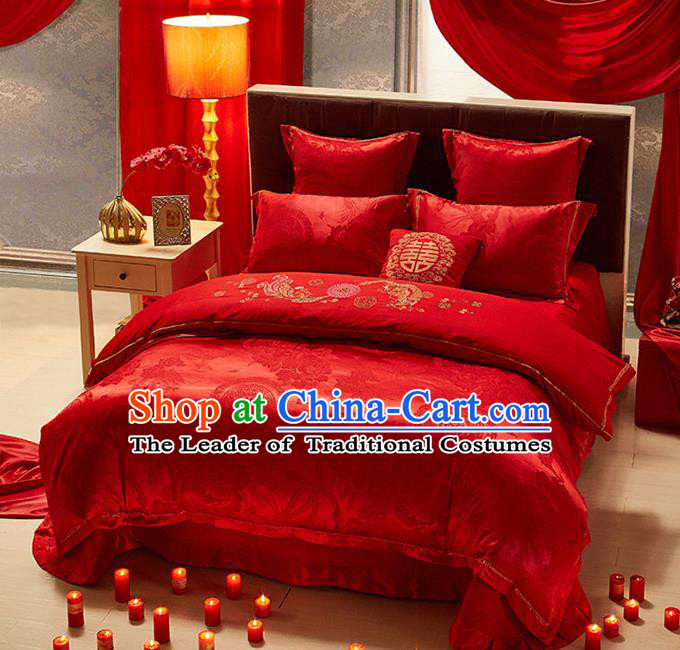 Traditional Chinese Wedding Embroidered Dragon Phoenix Red Satin Six-piece Bedclothes Duvet Cover Textile Qulit Cover Bedding Sheet Complete Set