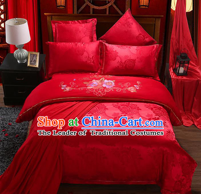 Traditional Chinese Wedding Embroidered Rose Red Satin Six-piece Bedclothes Duvet Cover Textile Qulit Cover Bedding Sheet Complete Set