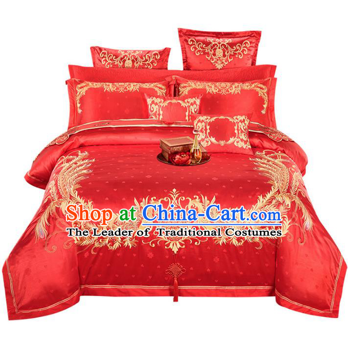 Traditional Chinese Wedding Embroidered Phoenix Red Satin Ten-piece Bedclothes Duvet Cover Textile Qulit Cover Bedding Sheet Complete Set
