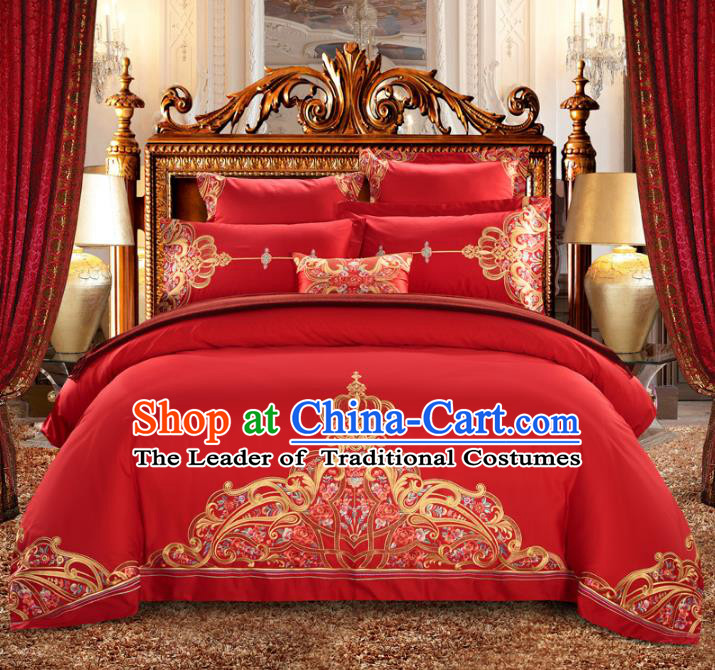 Traditional Chinese Wedding Embroidered Red Satin Six-piece Bedclothes Duvet Cover Textile Qulit Cover Bedding Sheet Complete Set