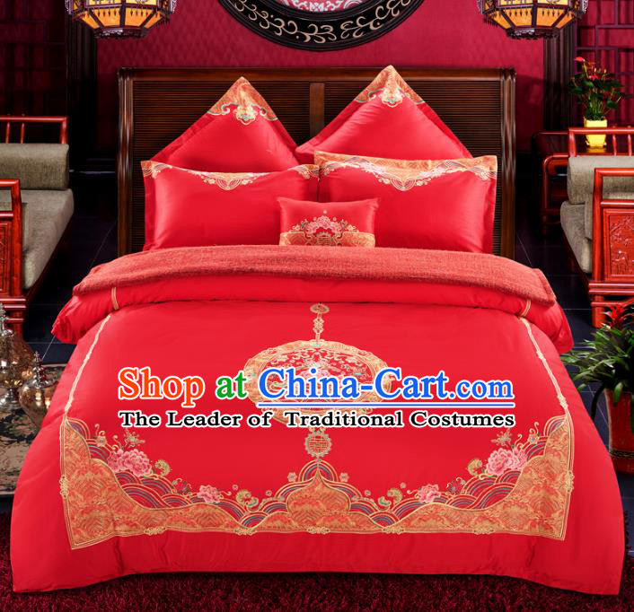 Traditional Chinese Wedding Embroidered Peony Red Satin Seven-piece Bedclothes Duvet Cover Textile Qulit Cover Bedding Sheet Complete Set