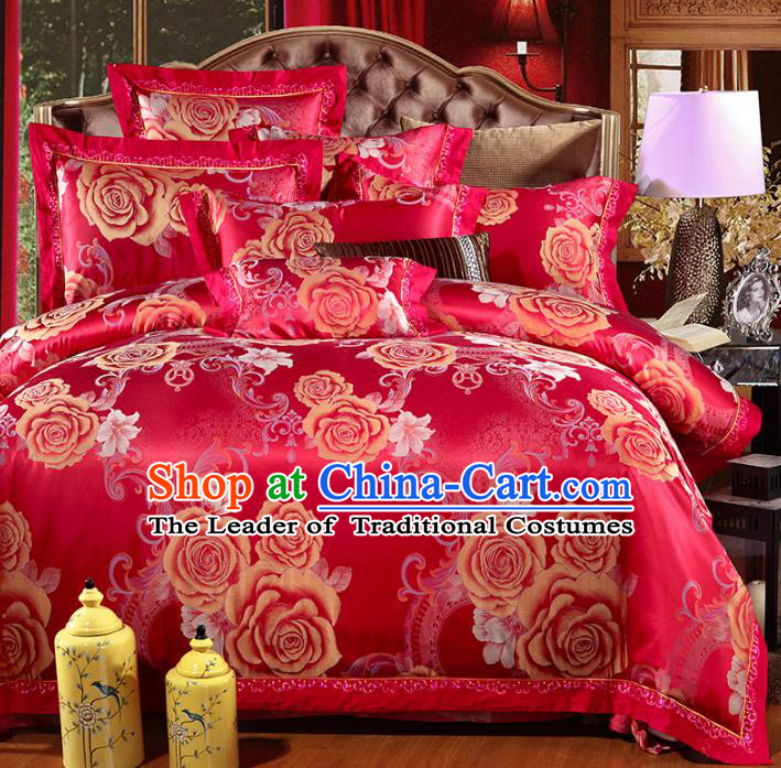 Traditional Chinese Wedding Printing Rose Red Satin Six-piece Bedclothes Duvet Cover Textile Qulit Cover Bedding Sheet Complete Set