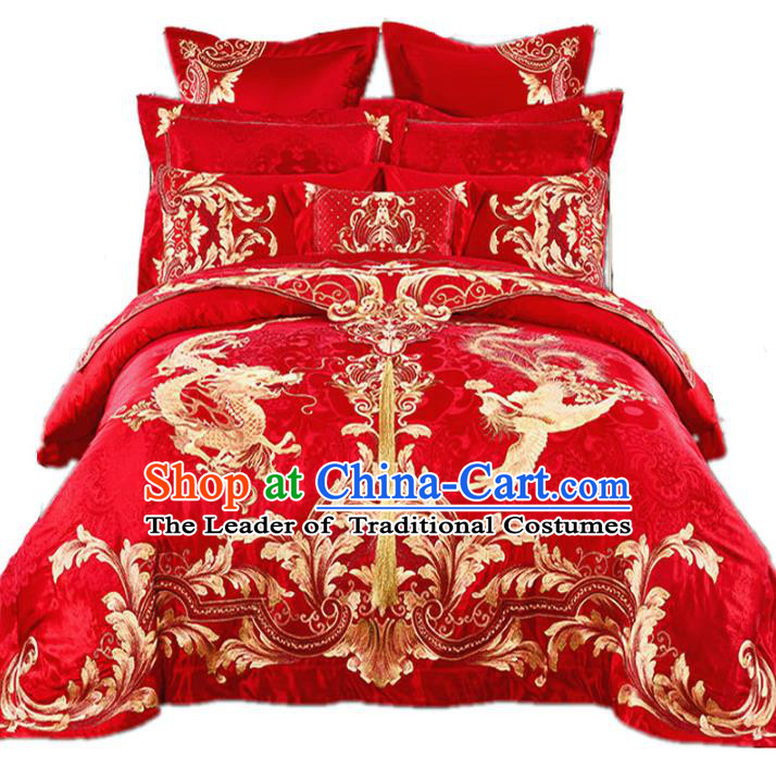 Traditional Chinese Wedding Embroidered Dragon Phoenix Red Satin Ten-piece Bedclothes Duvet Cover Textile Qulit Cover Bedding Sheet Complete Set