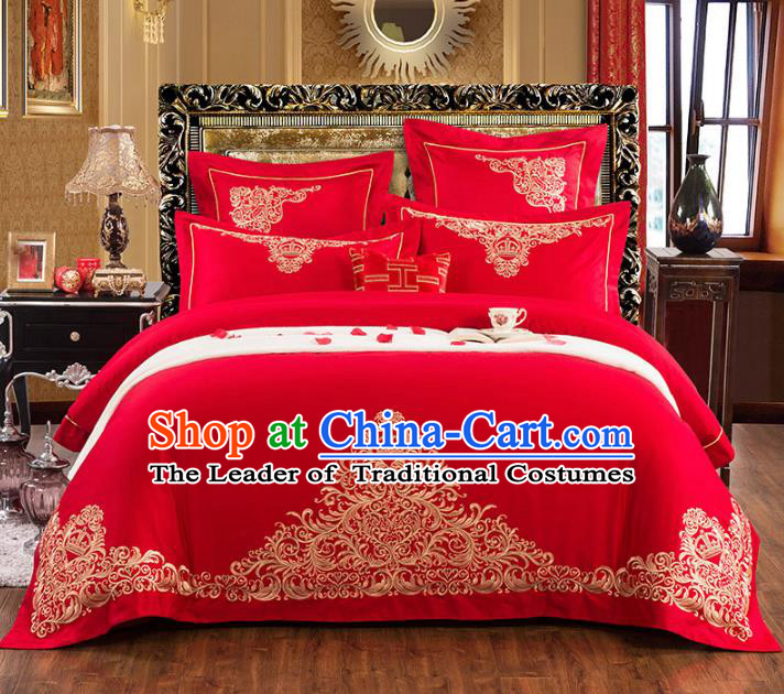 Traditional Chinese Wedding Embroidered Red Eight-piece Bedclothes Duvet Cover Textile Qulit Cover Bedding Sheet Complete Set