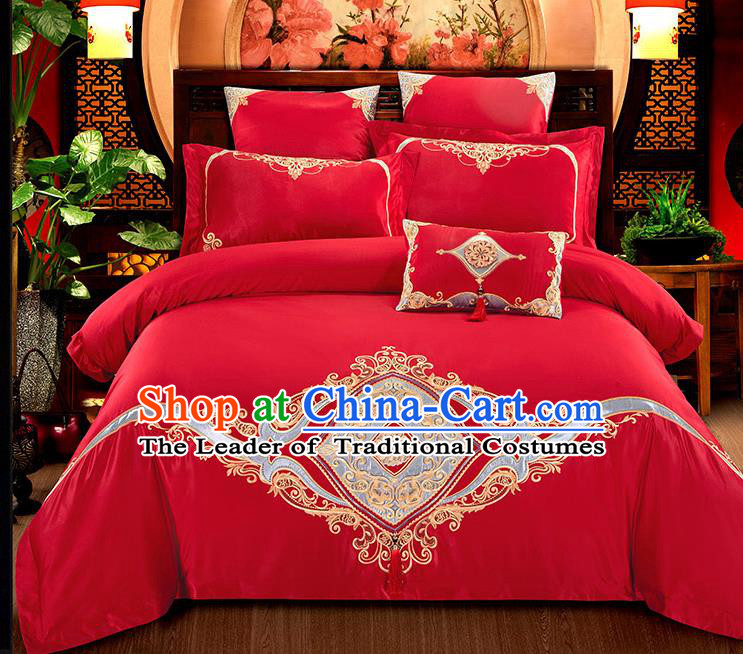 Traditional Chinese Wedding Embroidered Flowers Red Seven-piece Bedclothes Duvet Cover Textile Qulit Cover Bedding Sheet Complete Set