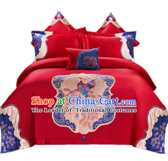 Traditional Chinese Wedding Embroidered Peacock Red Ten-piece Bedclothes Duvet Cover Textile Qulit Cover Bedding Sheet Complete Set