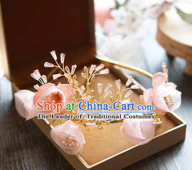 Chinese Traditional Bride Hair Jewelry Accessories Baroque Wedding Pink Flowers Royal Crown for Women