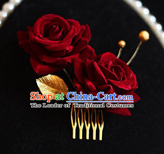 Chinese Traditional Bride Hair Jewelry Accessories Wedding Rose Hair Comb for Women