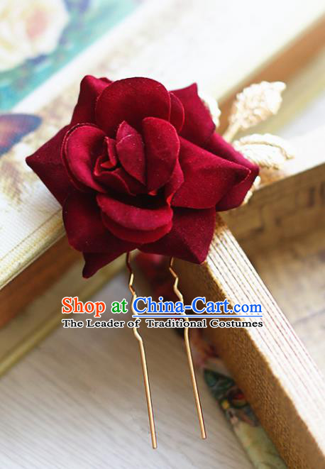 Chinese Traditional Bride Hair Jewelry Accessories Wedding Rose Hairpins Hair Stick for Women
