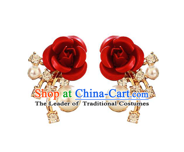 Chinese Traditional Bride Jewelry Accessories Baroque Princess Headwear Wedding Crystal Rose Earrings for Women