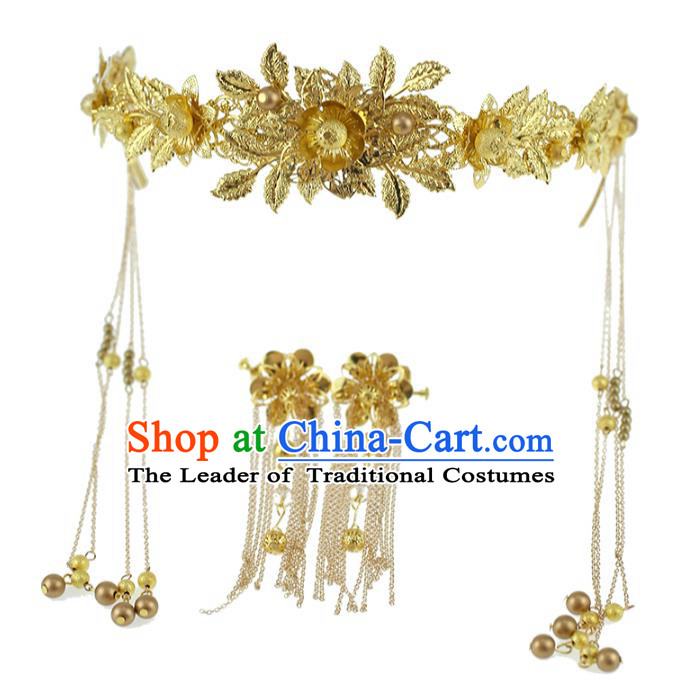 Chinese Traditional Bride Hair Jewelry Accessories Xiuhe Suit Hairpins Headwear Wedding Golden Phoenix Coronet for Women