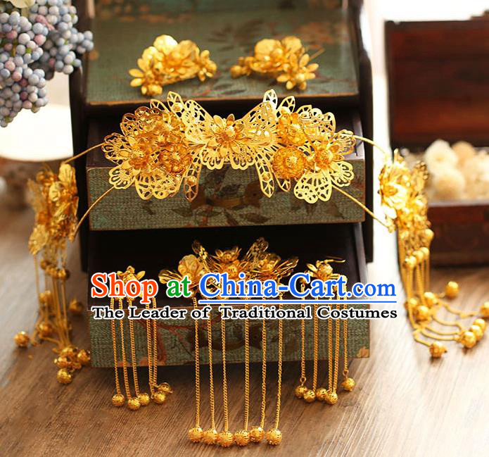 Chinese Traditional Bride Hair Jewelry Accessories Xiuhe Suit Hairpins Headwear Wedding Golden Butterfly Phoenix Coronet for Women