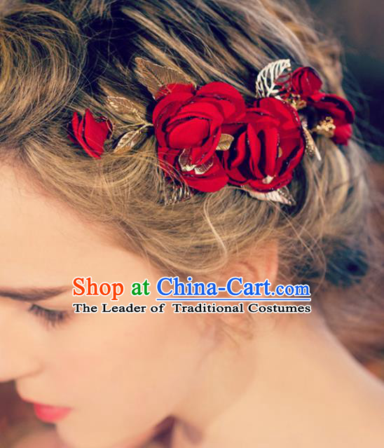 Chinese Traditional Bride Hair Jewelry Accessories Wedding Baroque Retro Rose Hair Stick for Women
