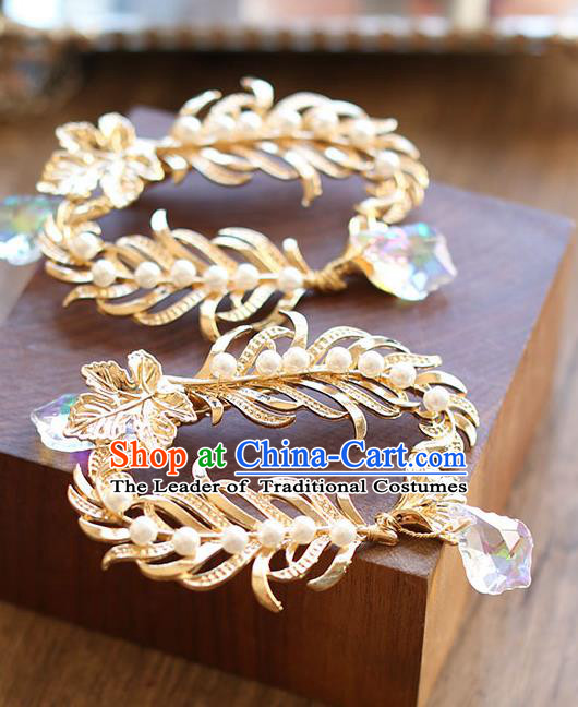 Chinese Traditional Bride Hair Jewelry Accessories Wedding Baroque Retro Golden Hair Stick for Women