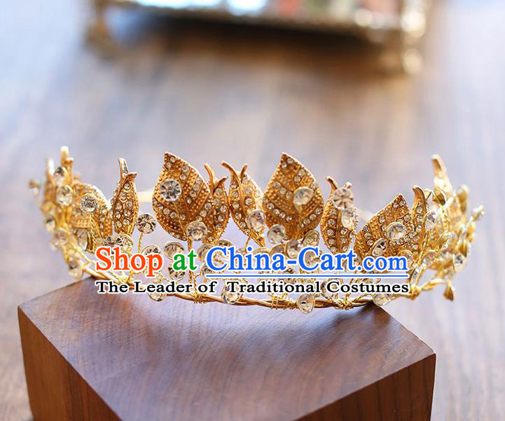 Chinese Traditional Bride Hair Jewelry Accessories Wedding Baroque Retro Golden Leaf Hair Clasp for Women