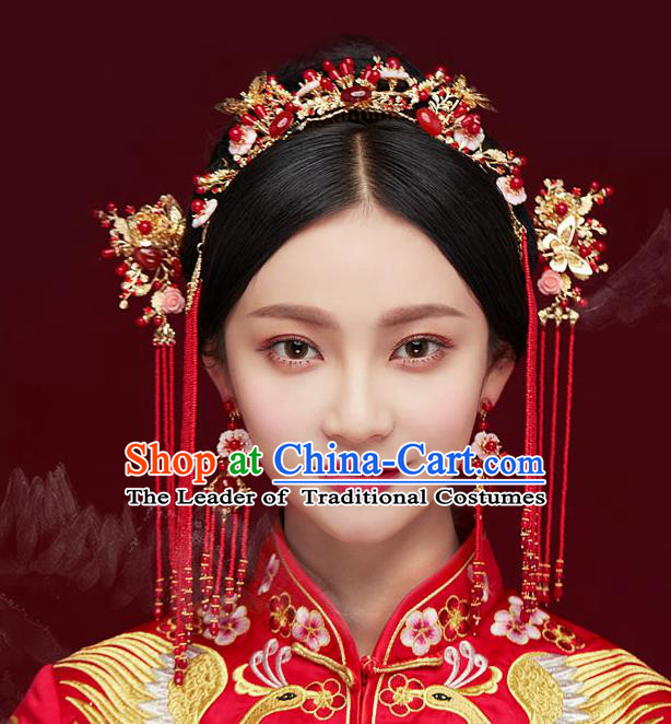 Chinese Traditional Bride Hair Jewelry Accessories Palace Xiuhe Suit Red Beads Phoenix Coronet Wedding Tassel Headwear for Women
