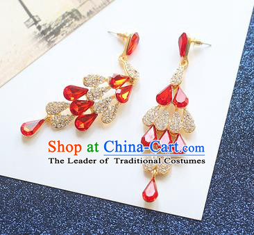 Chinese Traditional Bride Jewelry Accessories Eardrop Princess Wedding Red Crystal Earrings for Women