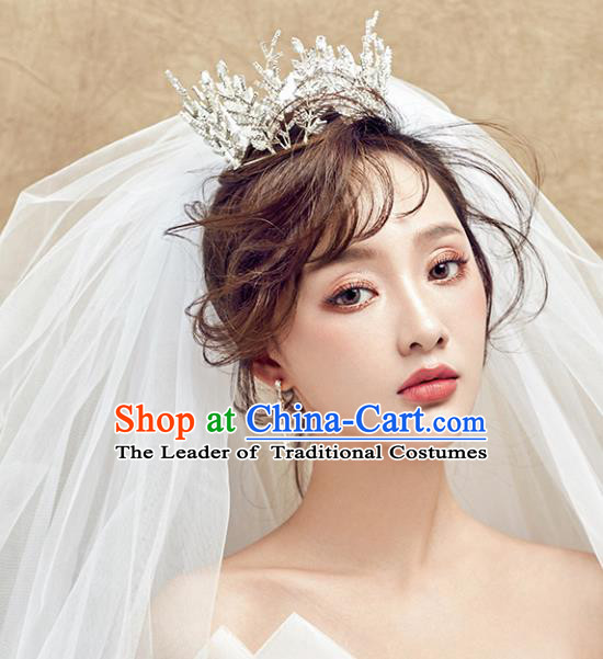 Chinese Traditional Bride Hair Accessories Baroque Princess Headwear Wedding Crystal Jewelry Round Royal Crown for Women