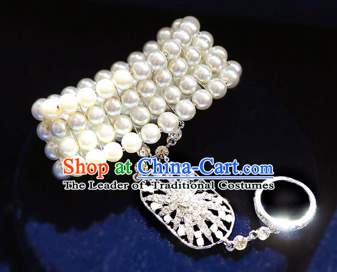 Chinese Traditional Bride Jewelry Accessories Baroque Princess Pearls Bracelets with Rings for Women