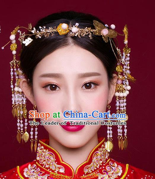 Chinese Traditional Bride Hair Jewelry Accessories Xiuhe Suit Hairpins Headwear Wedding Pink Beads Tassel Hair Clasp for Women