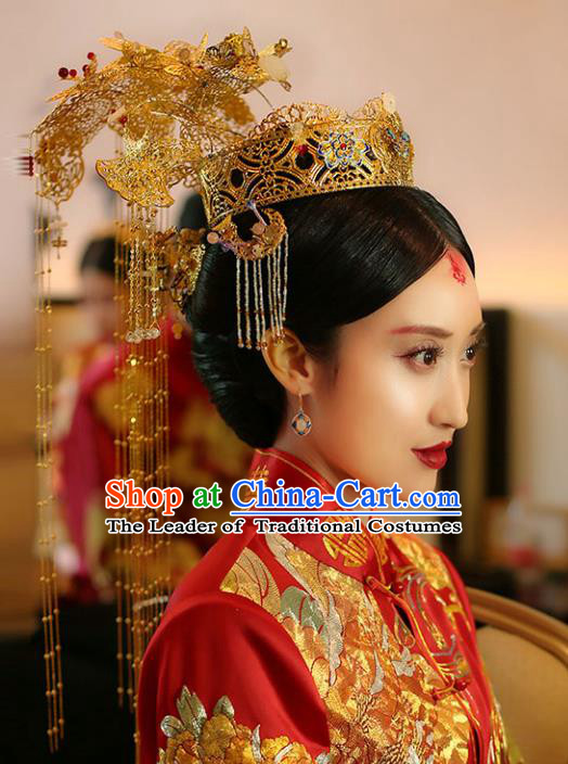 Chinese Traditional Bride Hair Jewelry Accessories Xiuhe Suit Extravagant Phoenix Coronet Wedding Tassel Headwear for Women