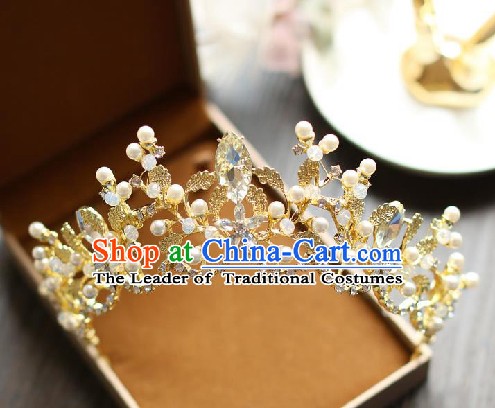 Chinese Traditional Bride Hair Jewelry Accessories Baroque Wedding Crystal Royal Crown for Women