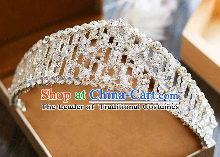 Chinese Traditional Bride Hair Jewelry Accessories Baroque Wedding Crystal Beads Royal Crown for Women