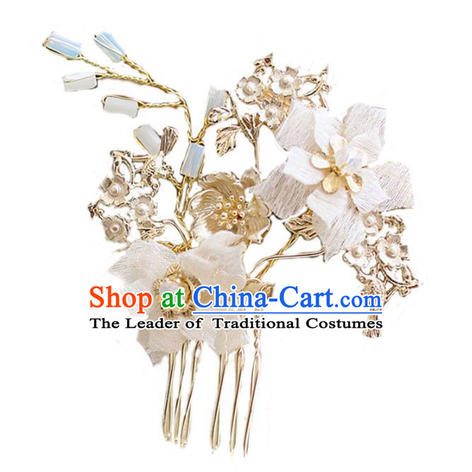 Chinese Traditional Bride Hair Jewelry Accessories Wedding Flowers Hair Comb Headwear for Women