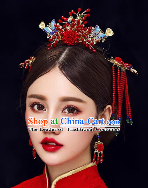 Chinese Traditional Bride Hair Jewelry Accessories Xiuhe Suit Phoenix Coronet Wedding Red Beads Tassel Headwear for Women