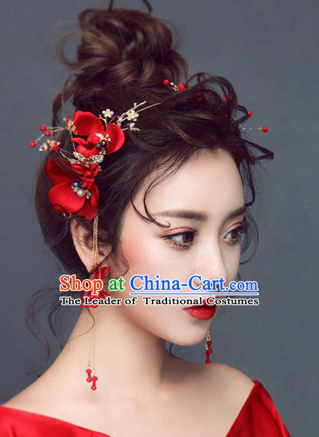Chinese Traditional Bride Hair Jewelry Accessories Wedding Xiuhe Suit Red Flowers Hair Clasp and Earrings for Women