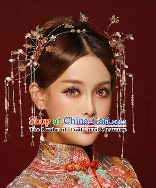 Chinese Traditional Bride Hair Jewelry Accessories Palace Xiuhe Suit Golden Phoenix Coronet Wedding Tassel Headwear for Women