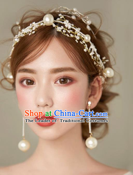 Chinese Traditional Bride Hair Jewelry Accessories Wedding Xiuhe Suit Pearls Hair Clasp and Earrings for Women